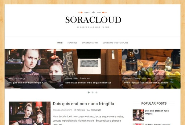 Sora Cloud Blogger Template Premium Version