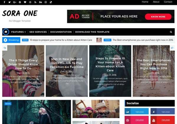 Sora One Blogger Template Premium Version