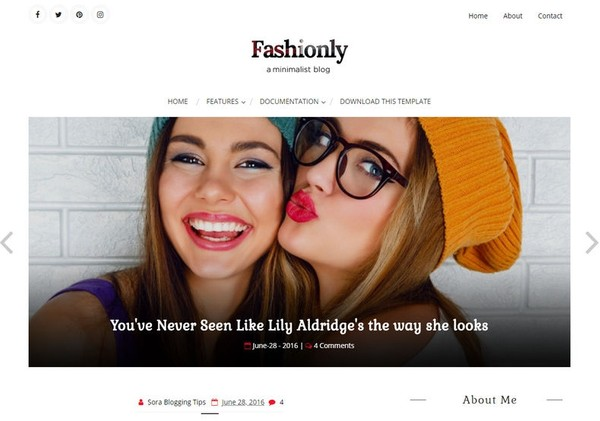 Fashionly Blogger Template Premium Version