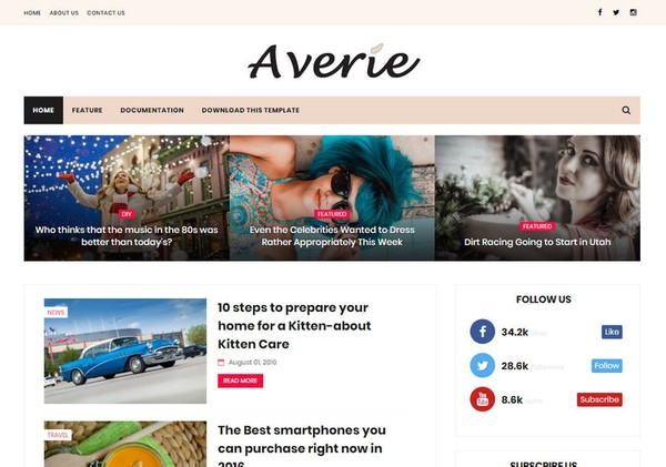Averie Minimal Blogger Template Premium Version
