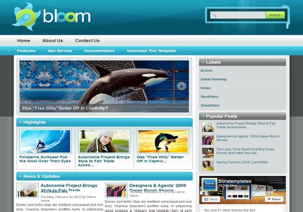Bloom Blogger Template Premium Version