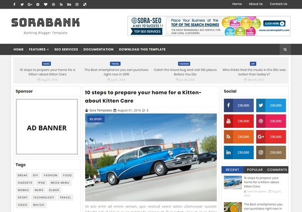 Sora Bank Blogger Template Premium Version