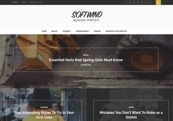 SoftWind Blogger Template Premium Version