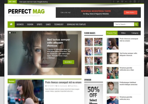 Perfect Mag Blogger Template Premium Version