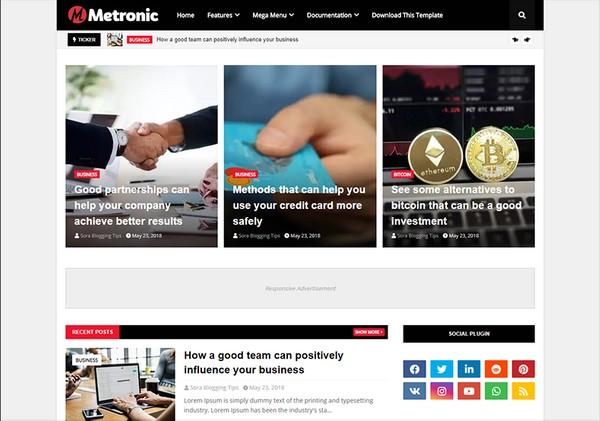 Metronic Blogger Template Premium Version
