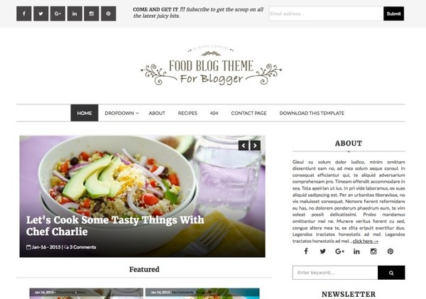 Food Blog Blogger Template Premium Version