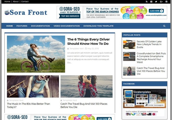 Sora Front Blogger Template Premium Version