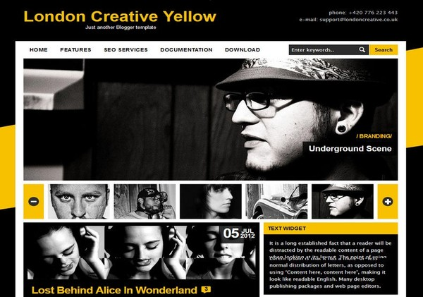 London Creative Yellow Blogger Template Premium Version