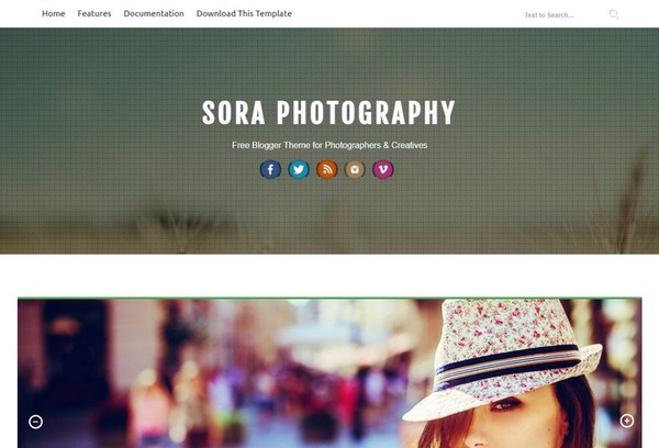 Sora Photography Blogger Template Extended Version