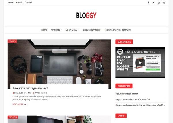 Bloggy Blogger Template Premium Version