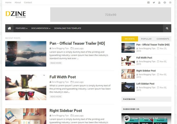 Dzine Blogger Template Premium Version