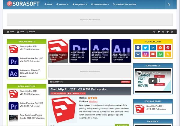Sorasoft Blogger Template Premium Version