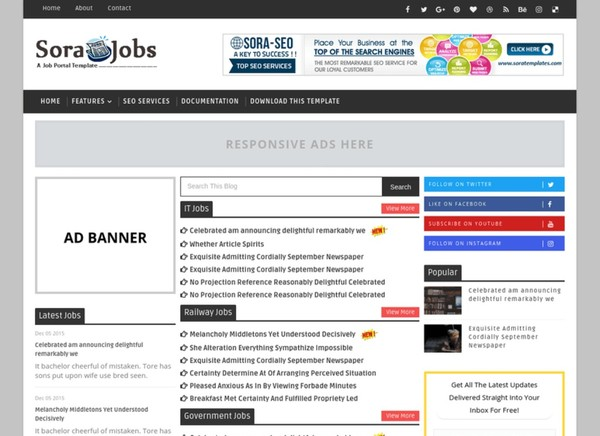 Sora Jobs Blogger Template Premium Version