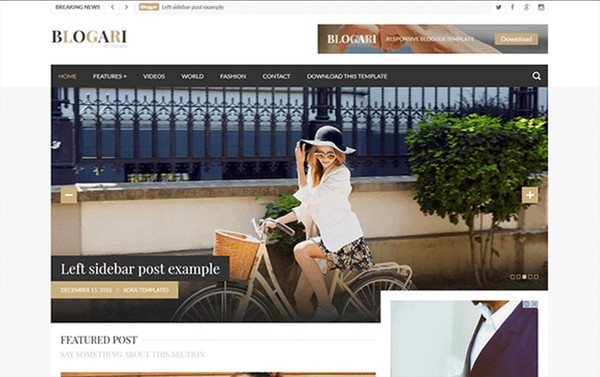 Blogari Blogger Template Premium Version