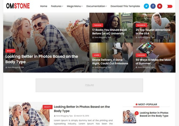 OmStone Blogger Template Premium Version