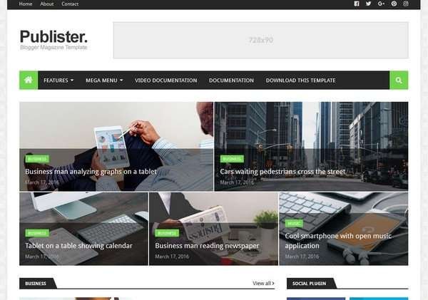 Publister Blogger Template Premium Version