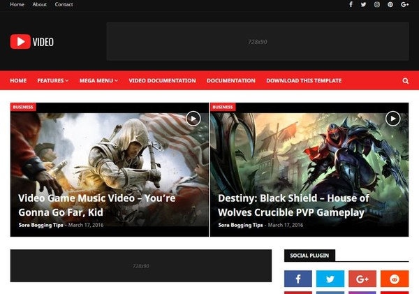 Video Blogger Template Premium Version
