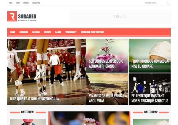 Sora Red Blogger Template Premium Version
