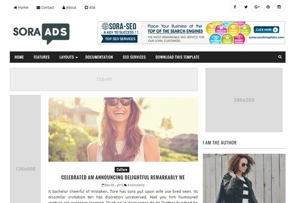 Sora Ads Blogger Template Premium Version