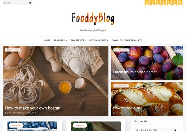 Fooddy Blogger Template Premium Version