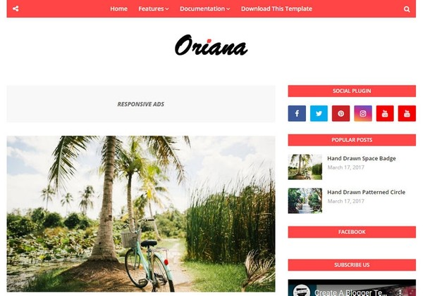 Oriana Blogger Template Premium Version