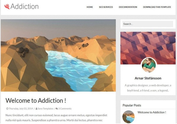 Addiction Blogger Template Premium Version