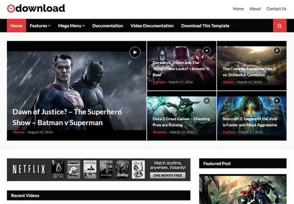 Video Download Blogger Template Premium Version