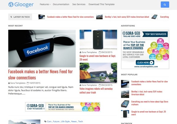 Glooger Blogger Template Premium Version