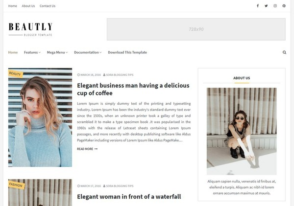 Beautly Blogger Template Premium Version