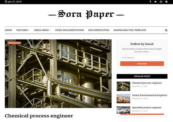 Sora Paper Blogger Template Premium Version