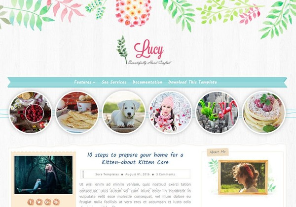 Lucy Beauty Blogger Template Premium Version