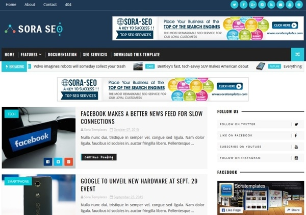 Sora Seo Blogger Template Premium Version