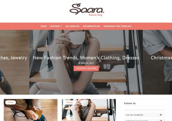 Saara Fashion Blog Blogger Template Premium Version