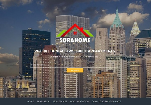 Sora Home Blogger Template Premium Version