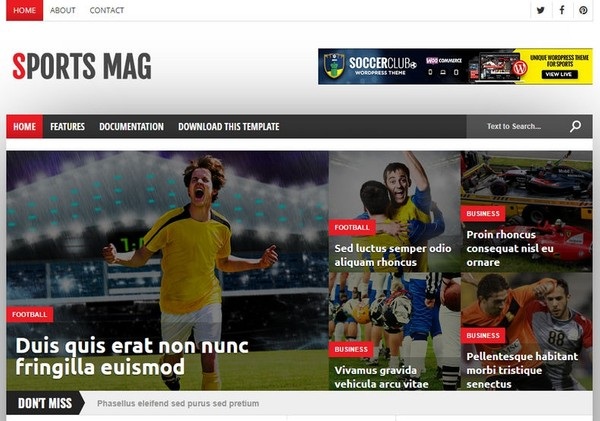 Sports Mag Blogger Template Extended Version