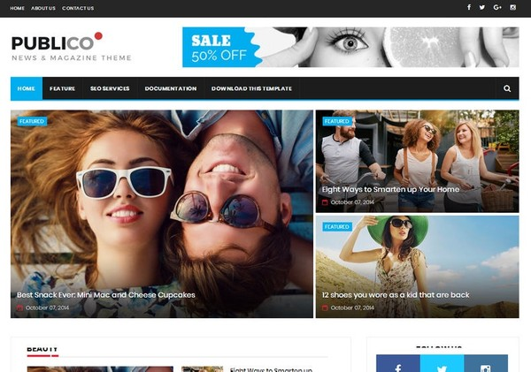 Publico Magazine Blogger Template Premium Version