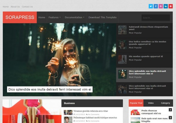 Sora Press Blogger Template Premium Version