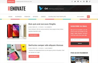 Renovate Blogger Template Premium Version