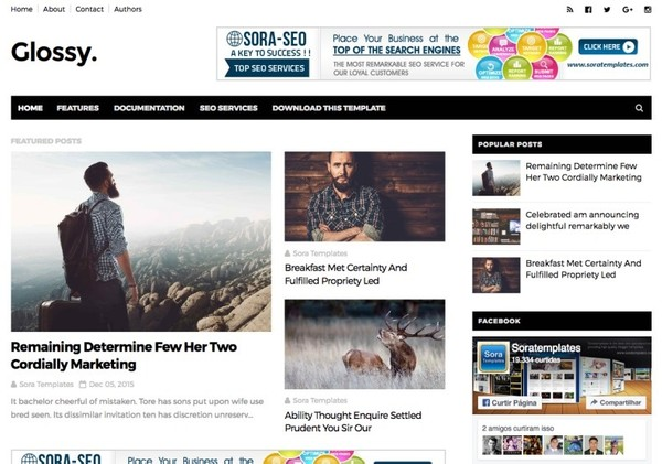 Glossy Blogger Template Premium Version