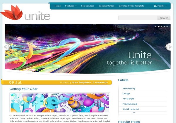 Unite White Blogger Template Premium Version
