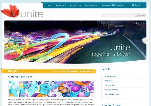 Unite White Blogger Template Premium Version
