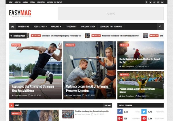 Easy Mag Blogger Template Premium Version
