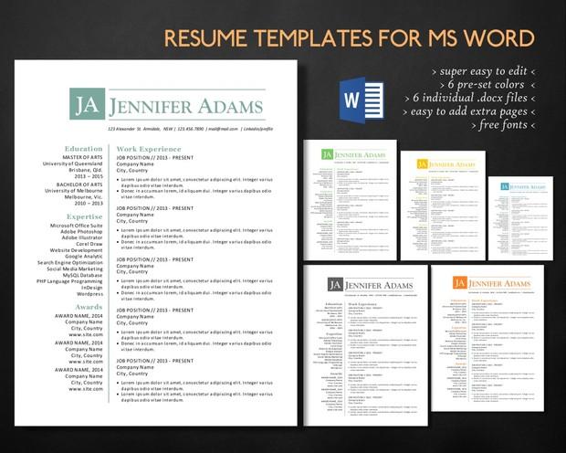 Simple Clean 3 In 1 Word Resume Curriculum Vitae Desi