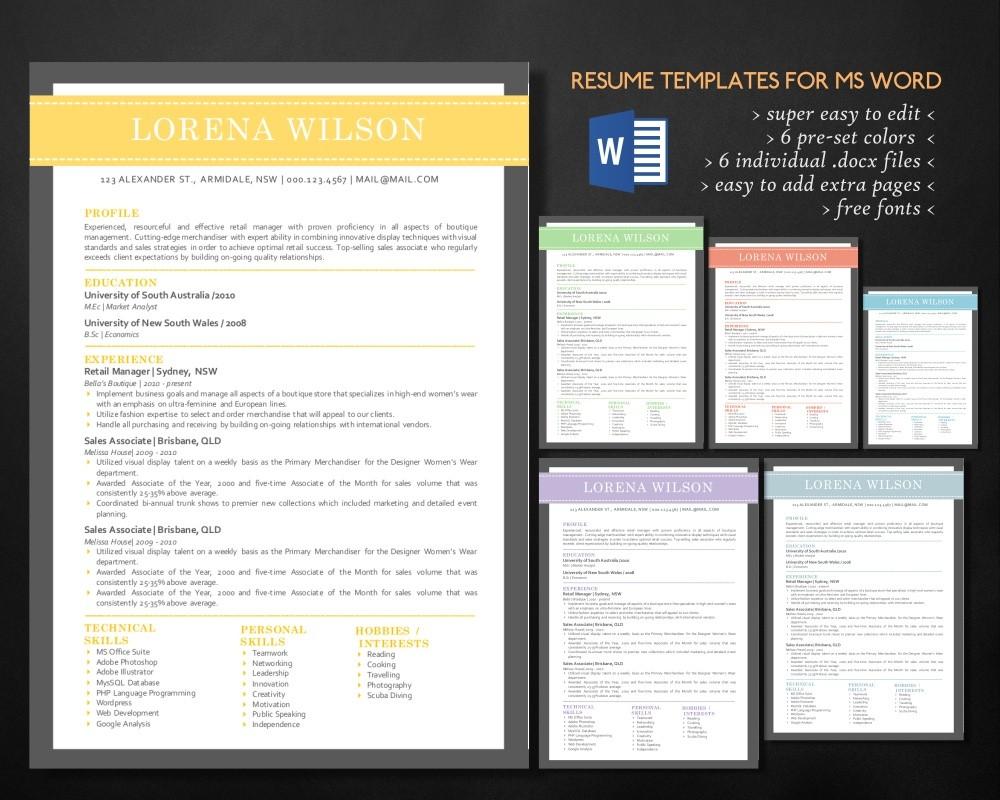 Simple Bar Resume Template For Ms Word Resume Design Curriculum Vitae Cv Diy Resume
