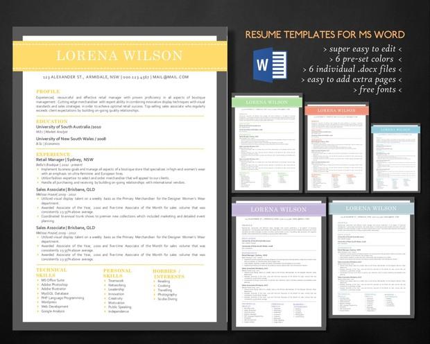 simple bar resume template for ms word resume design curriculum vitae cv