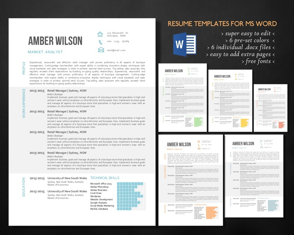 Charted 3 In 1 Word Resume Template Easy To Edit Resume Resume Design Cv Curriculum Vitae