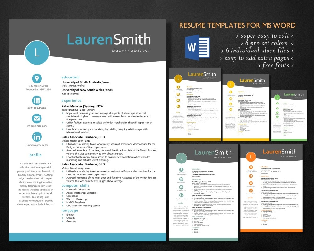 Resume For Ms Word Curriculum Vitae Cv Resume Design