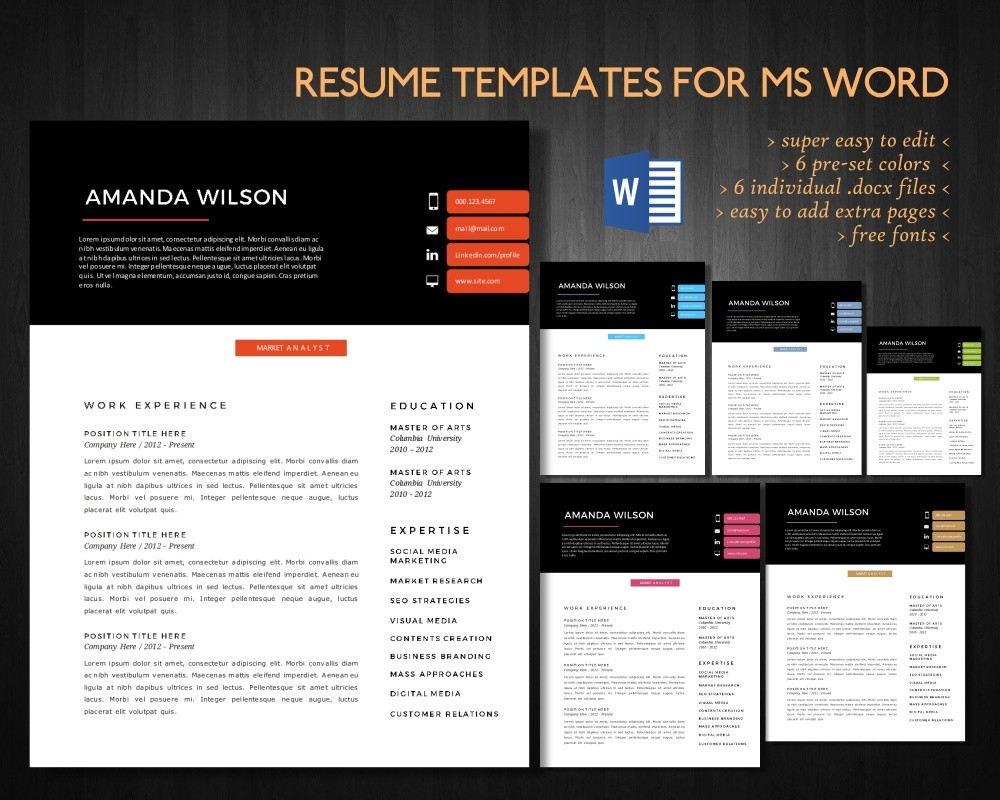 2 In 1 Modern Resume Template For Ms Word Cv Curriculum Vitae Resume Design