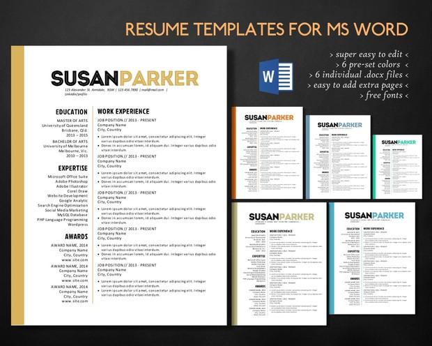 big name 3 in 1 word resume template curriculum vitae cv resume design