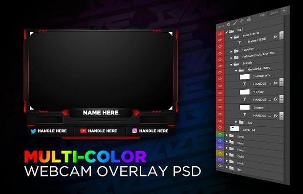 Multi-Color Webcam Overlay PSD